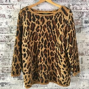 Lauren/Ralph lauren Hand knit, leopard sweater